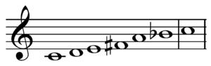 Mistik, sentetik bir akordur, bazen Prometheus ölçeği olarak da adlandırılan bu notalarını türeten ölçekleme dizisi